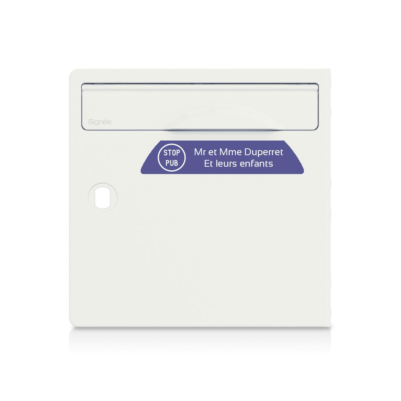 plaque boite aux lettres Signée STOP PUB violette lettres blanches - 2 lignes