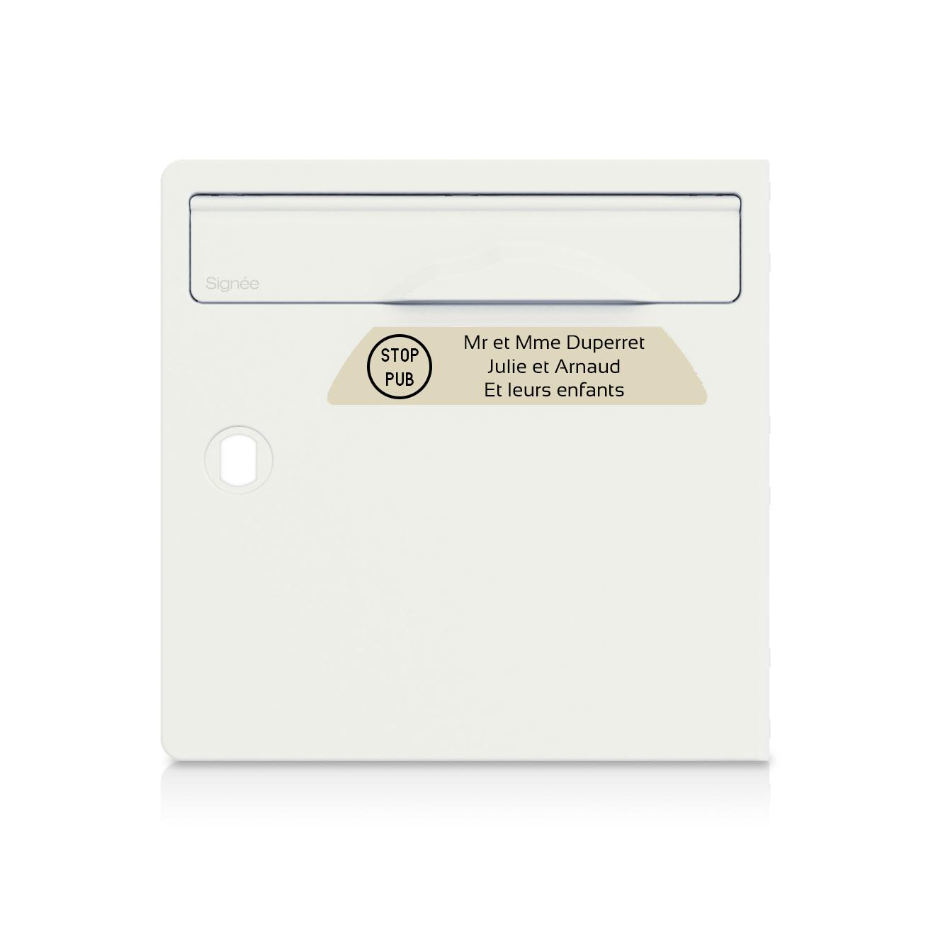 Plaque boite aux lettres Signée STOP PUB beige lettres noires - 3 lignes