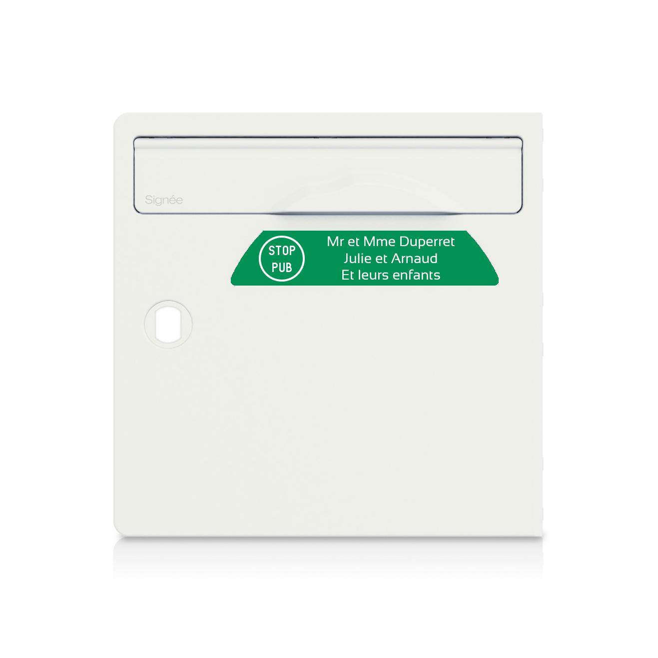 Plaque boite aux lettres Signée STOP PUB vert pomme lettres blanches - 3 lignes