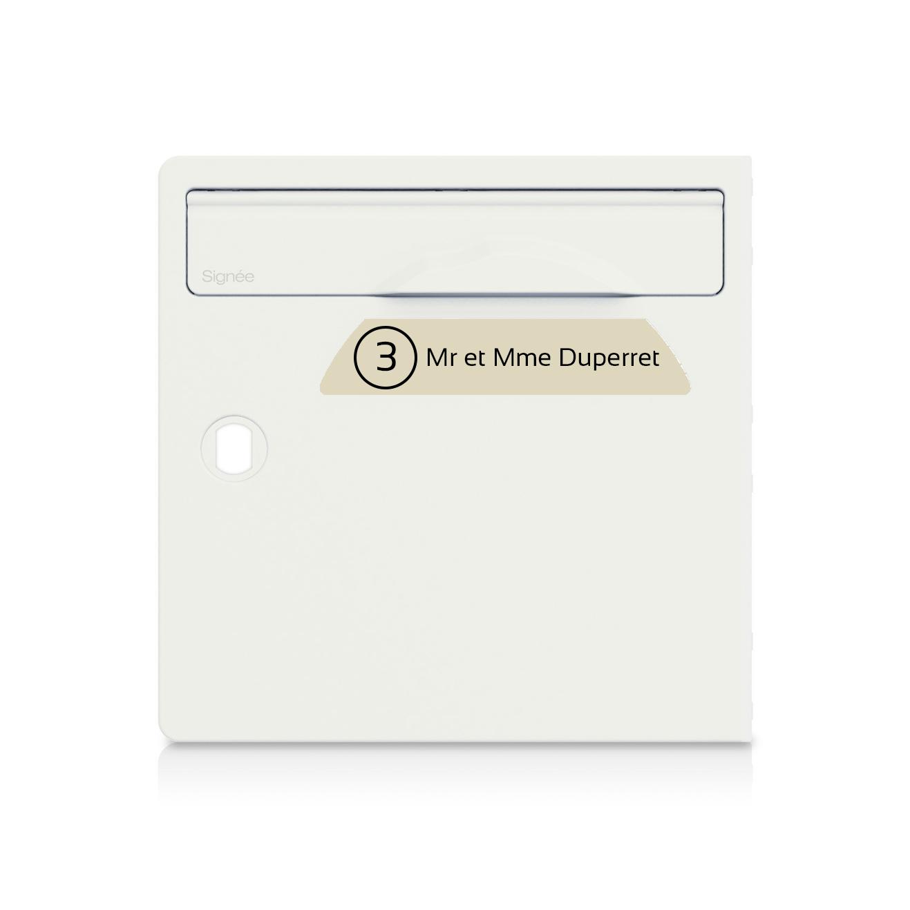 Plaque boite aux lettres Signée NUMERO beige lettres noires - 1 ligne