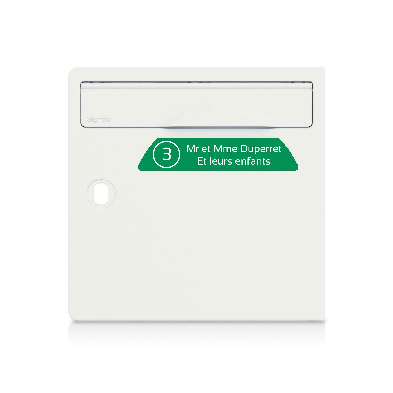 plaque boite aux lettres Signée NUMERO vert pomme lettres blanches - 2 lignes