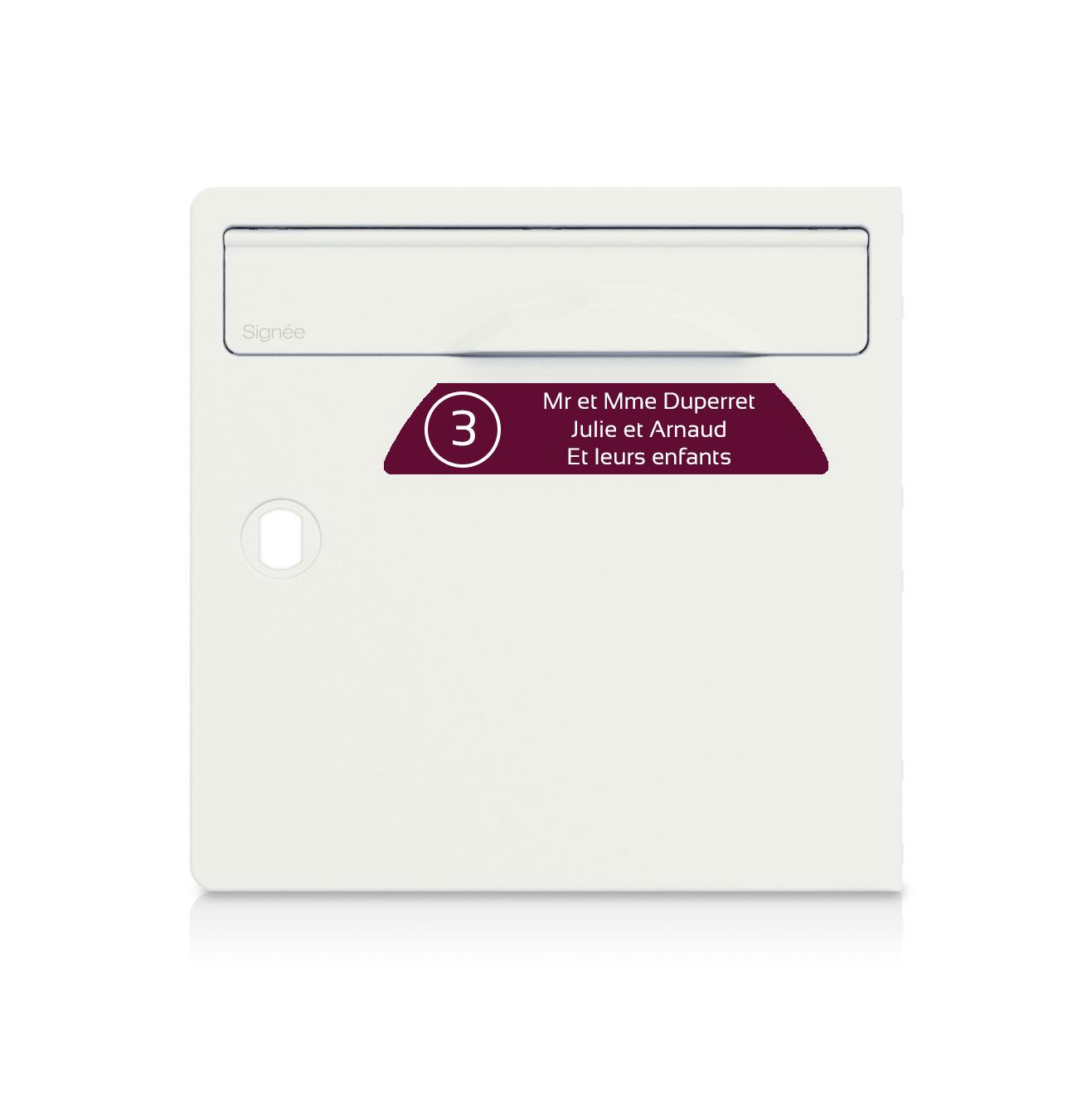 Plaque boite aux lettres Signée NUMERO bordeaux lettres blanches - 3 lignes