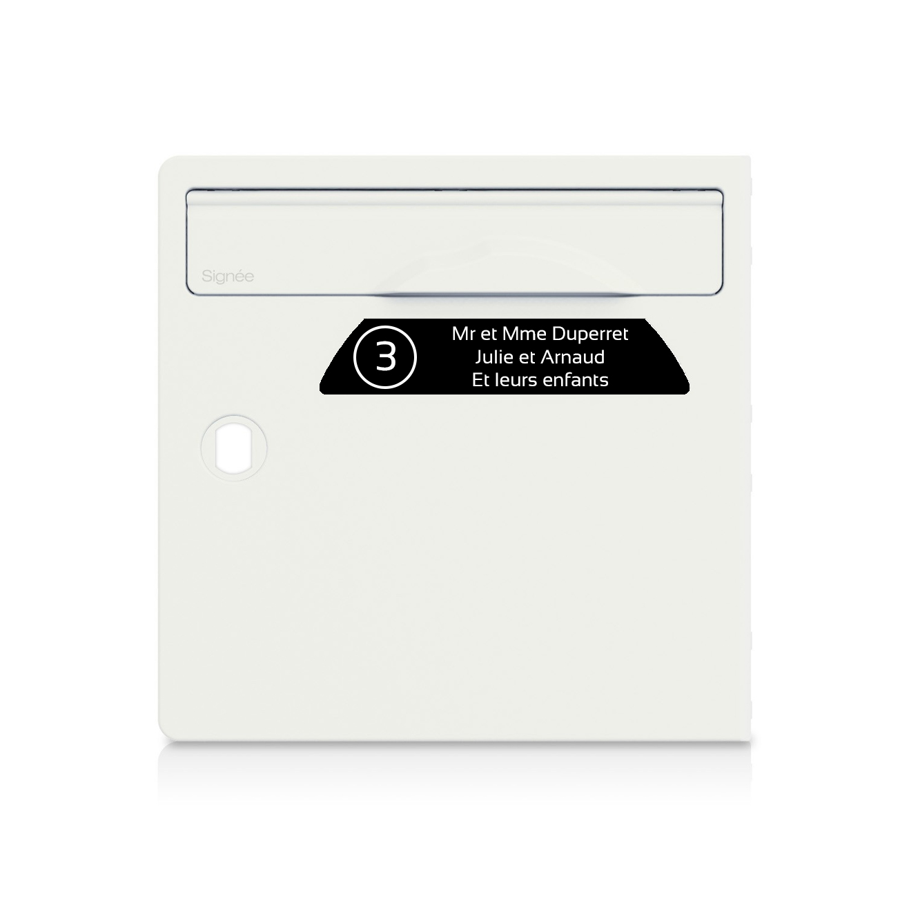 Plaque boite aux lettres Signée NUMERO noire lettres blanches - 3 lignes