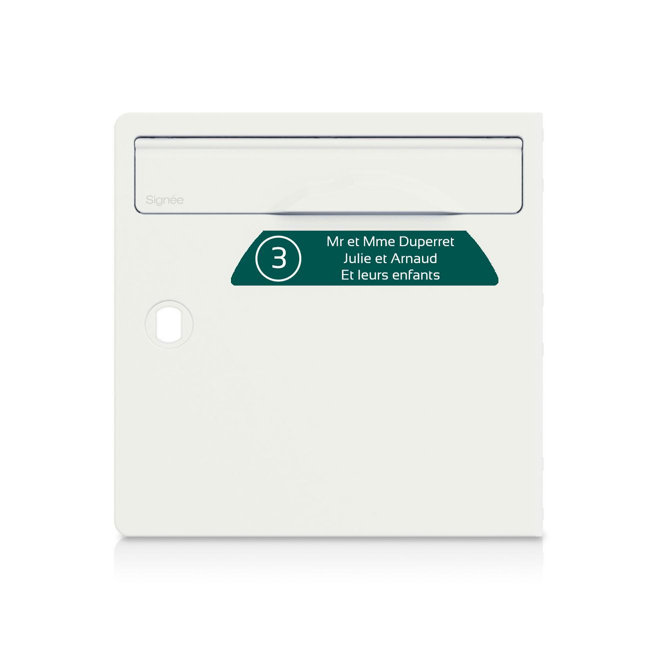 Plaque boite aux lettres Signée NUMERO vert foncé lettres blanches - 3 lignes