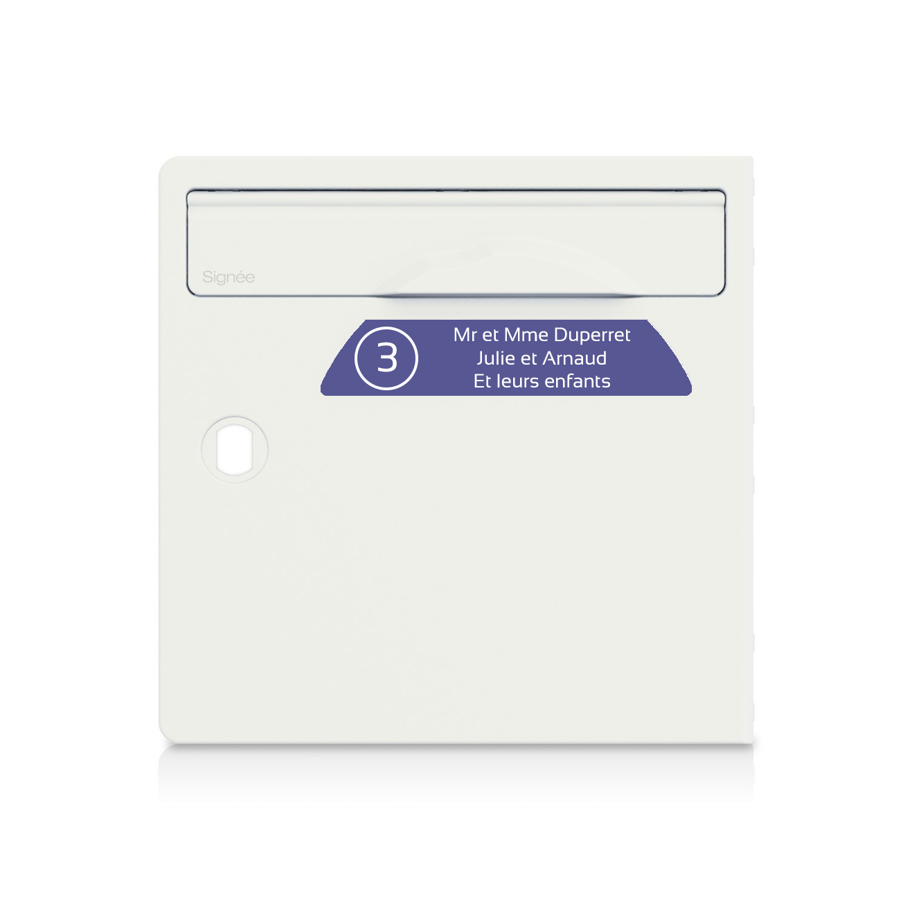 Plaque boite aux lettres Signée NUMERO violette lettres blanches - 3 lignes
