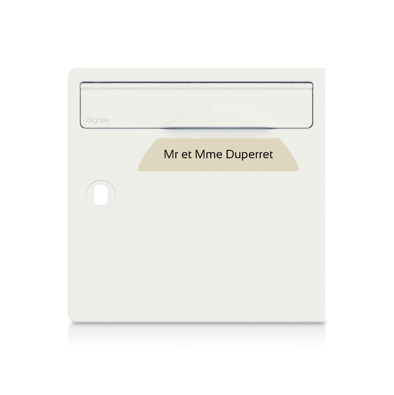 Plaque boite aux lettres Signée beige lettres noires - 1 ligne