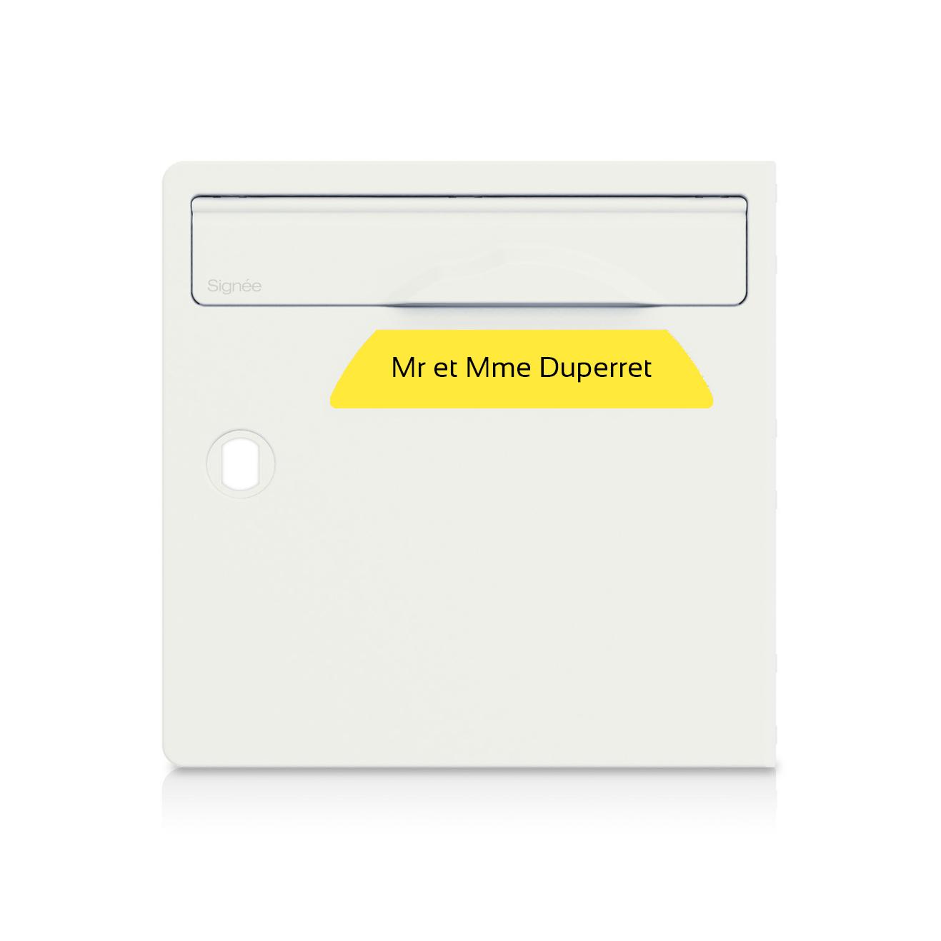 Plaque boite aux lettres Signée jaune lettres noires - 1 ligne
