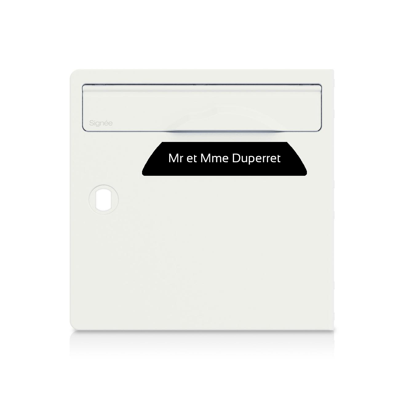 Plaque boite aux lettres Signée noire lettres blanches - 1 ligne