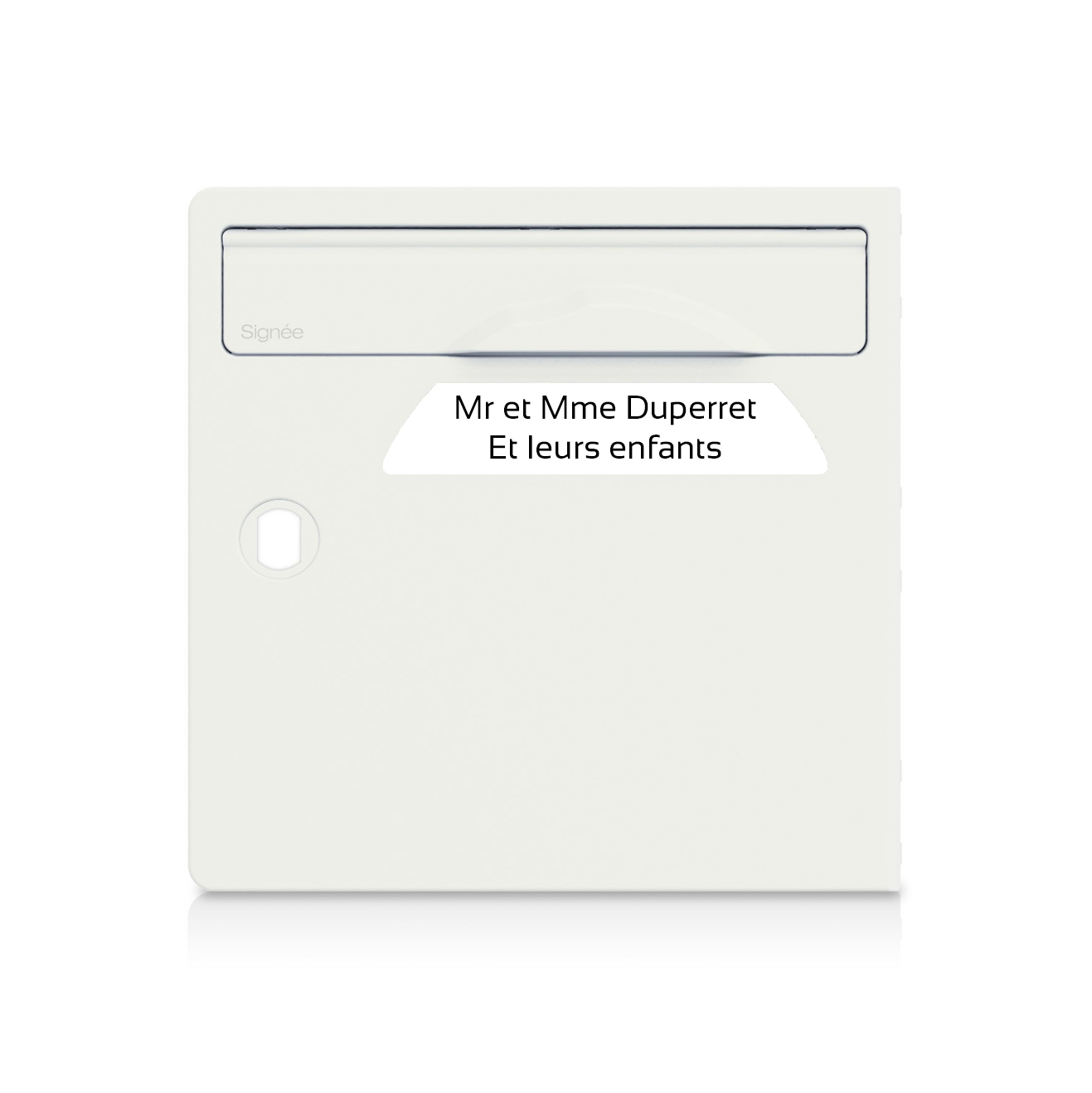 plaque boite aux lettres Signée blanche lettres noires - 2 lignes