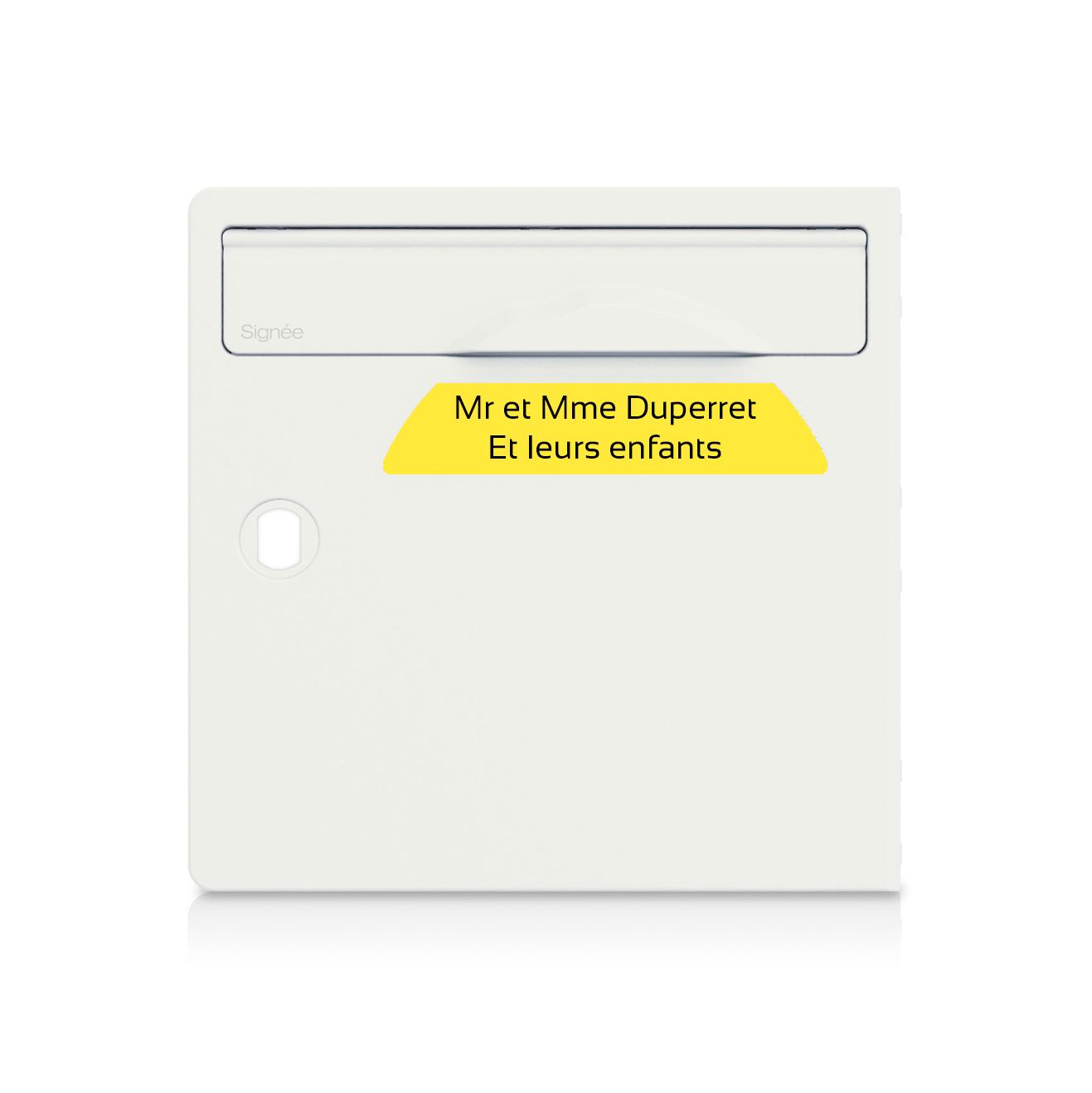 plaque boite aux lettres Signée jaune lettres noires - 2 lignes