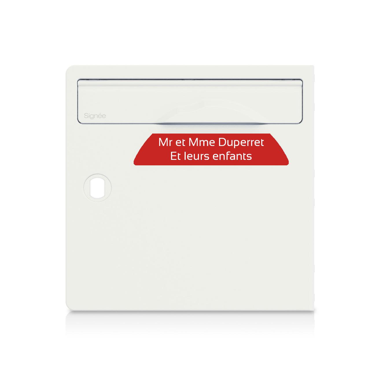 plaque boite aux lettres Signée rouge lettres blanches - 2 lignes