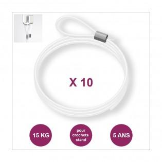 Lot de 10 câbles perlon Boucle - Câble transparent pour accrochage et affichage suspendu