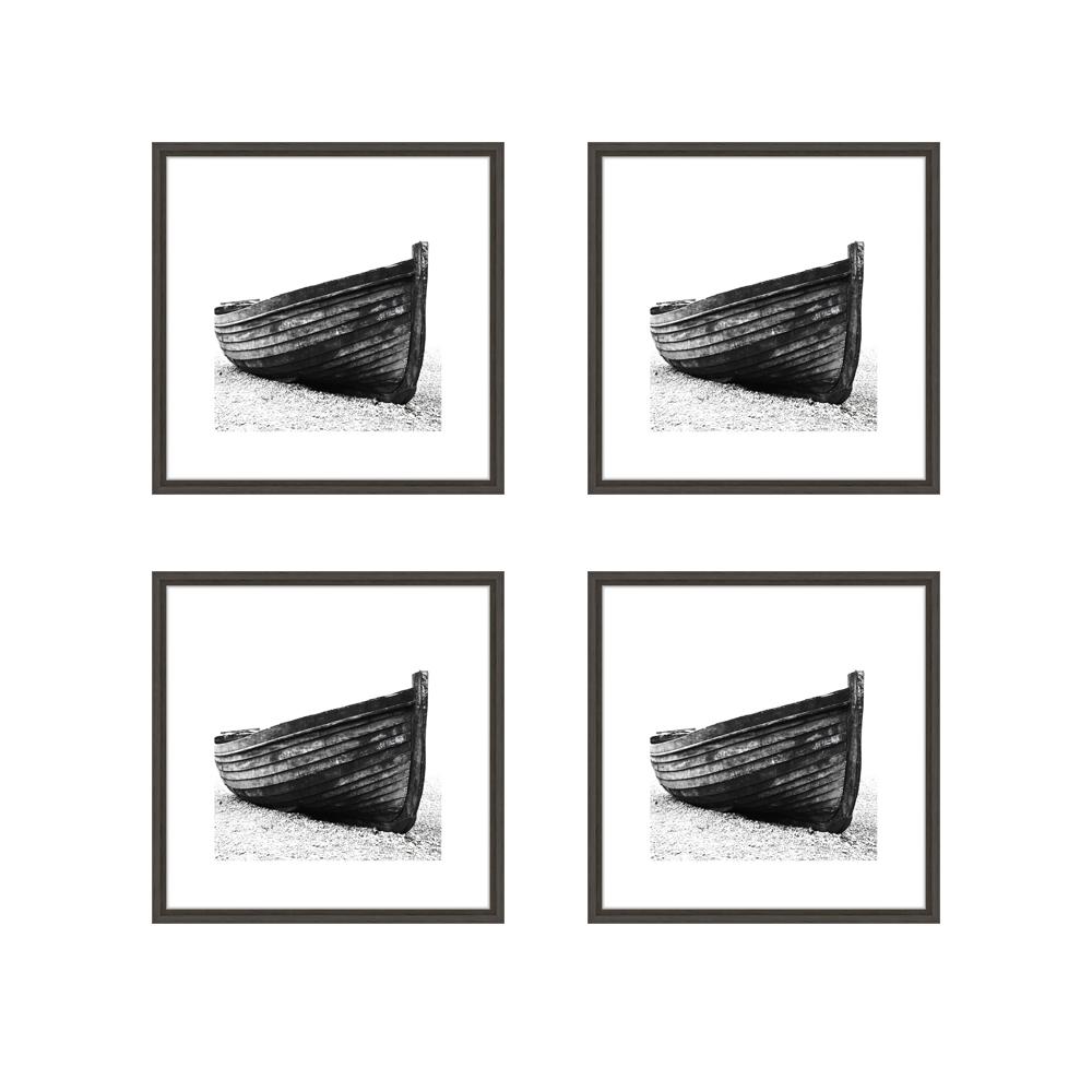 Lot de 4 cadres Nielsen Linus gris foncé format carré (20 x 20 cm) avec passe-partout - Encadrement décoration murale