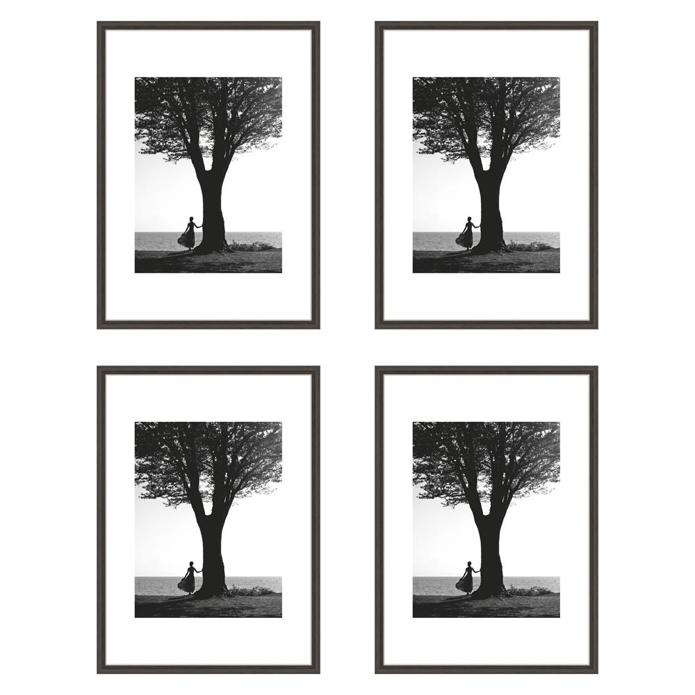 Lot de 4 cadres Nielsen Linus gris foncé format A4 avec passe-partout - Encadrement décoration murale