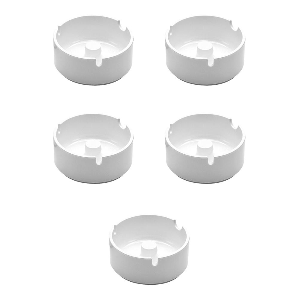 Lot de 5 cendriers en mélamine couleur blanc diamètre 10 cm - Accessoires bar restaurant