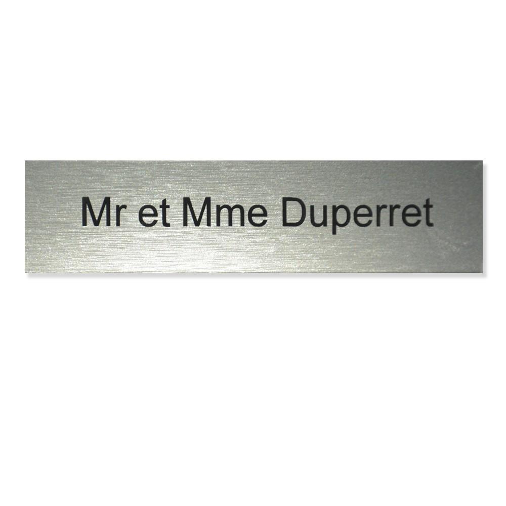 Plaque boite aux lettres Edelen (99x24mm) gris argent lettres noires - 1 ligne