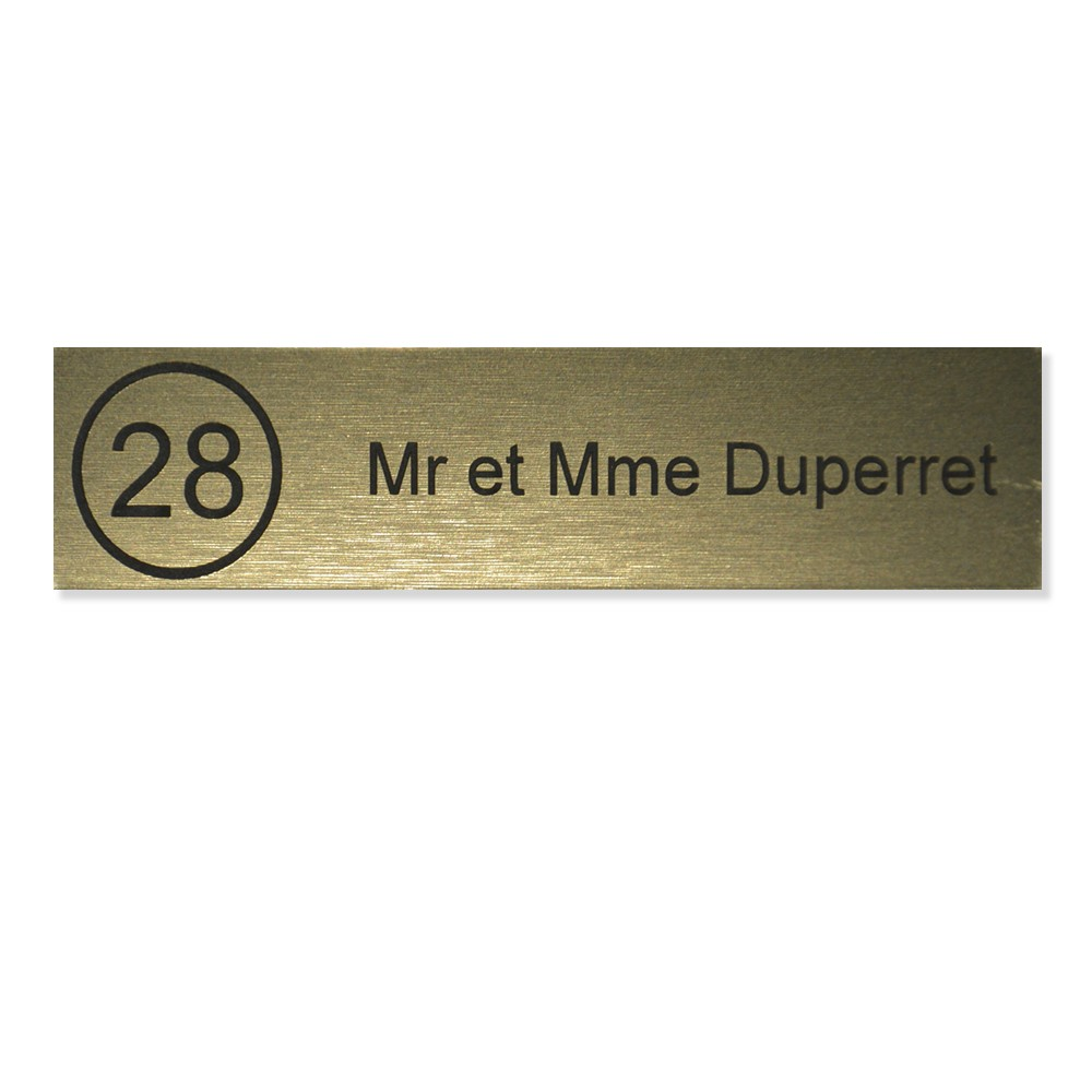 Plaque boite aux lettres NUMERO Edelen (99x24mm) or brossé lettres noires - 1 ligne