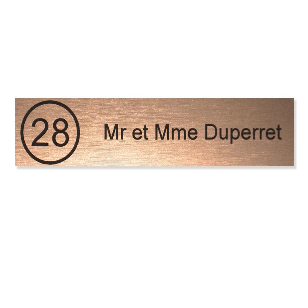 Plaque boite aux lettres NUMERO Edelen (99x24mm) cuivre lettres noires - 1 ligne