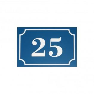 Numéro de maison / rue gravé et personnalisé couleur bleu chiffres blancs - Signalétique extérieure