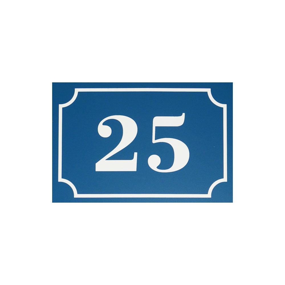 Numéro de maison / rue personnalisé couleur bleu chiffres blancs - Plaque numéro gravé et personnalisé