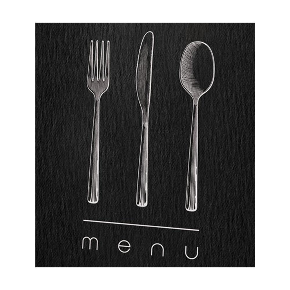 Protège menu noir élégant format A4 1 insert modèle DINNER - Dag Style