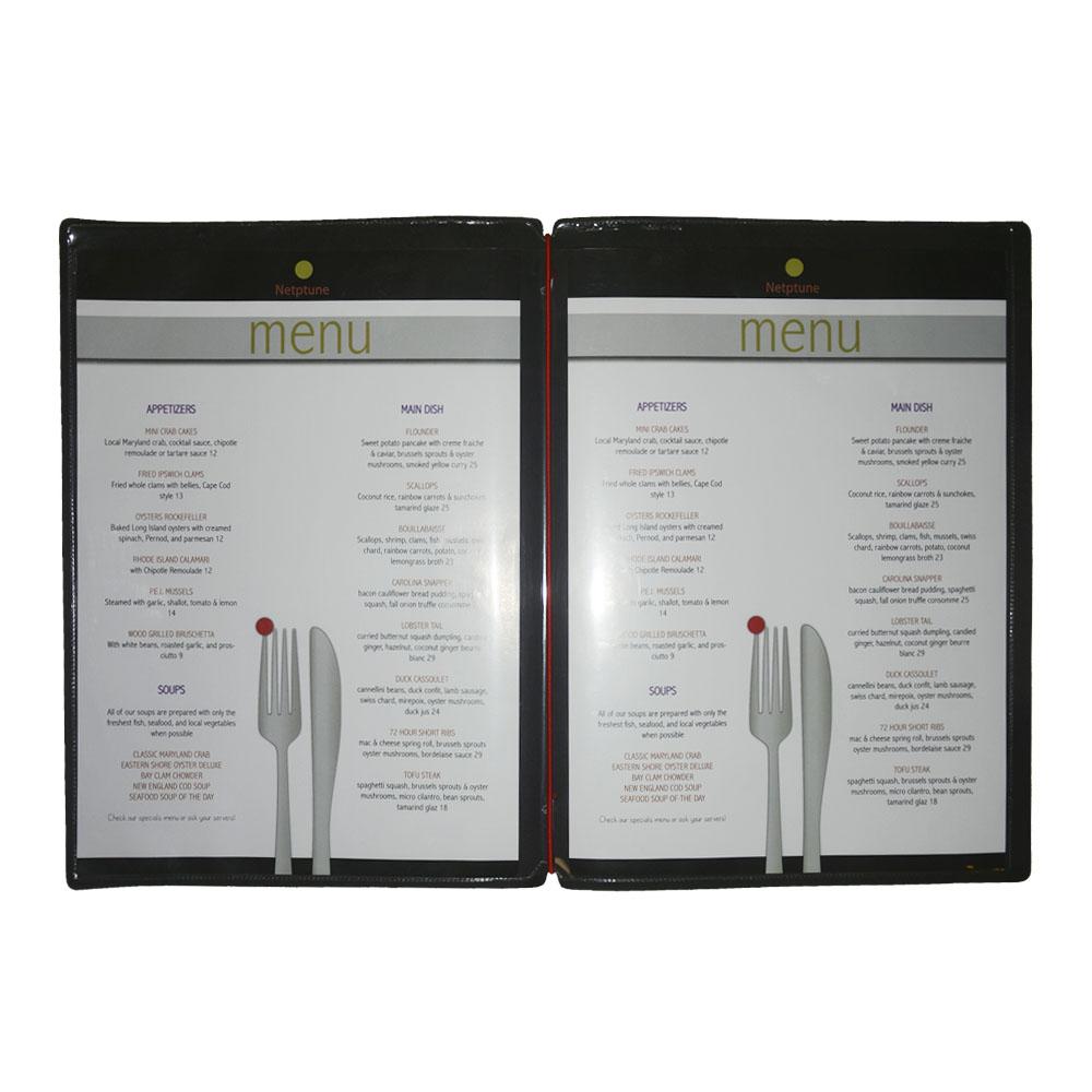Protège menu noir design format A4 1 insert modèle SIGN - Dag Style