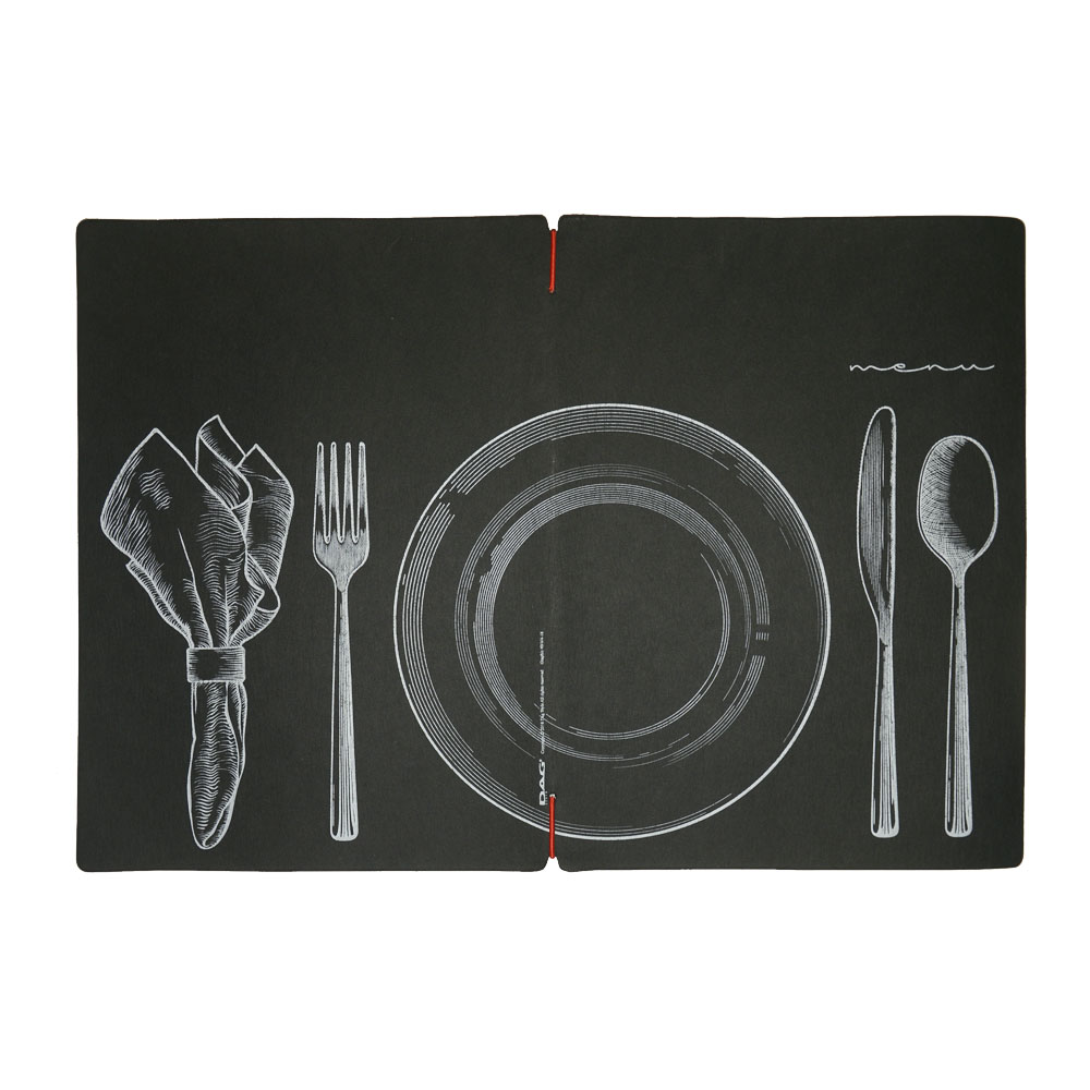 Protège menu noir format A4 design effet craie 1 insert modèle SET - Dag Style