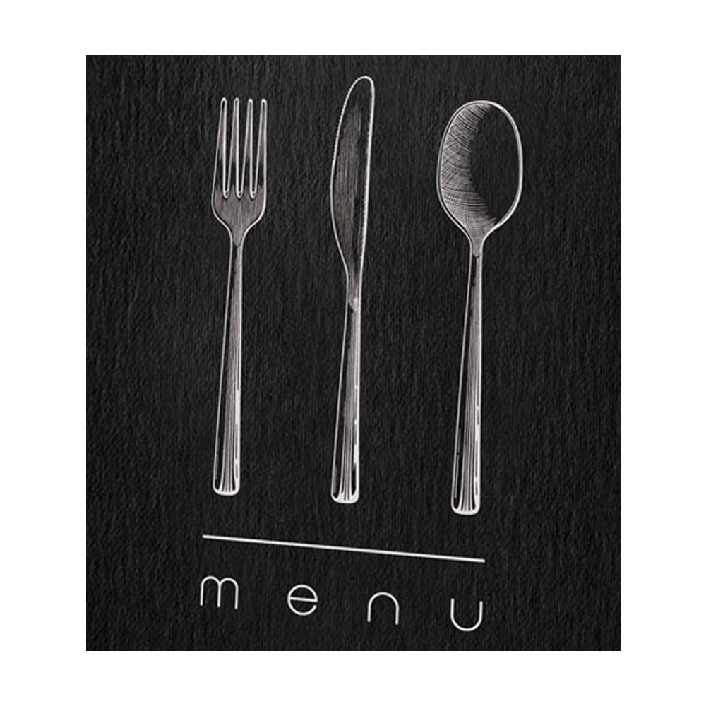 Lot 10 protèges menu noir élégant format A4 1 insert modèle DINNER - Dag Style