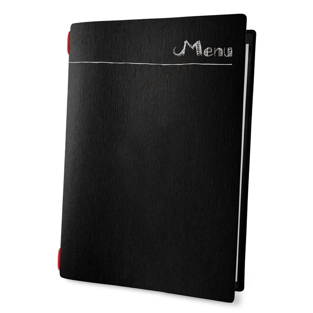 """Lot 10 protèges menu noir """"Menu"""" effet craie format A4 1 insert modèle CHALK - Dag Style"""