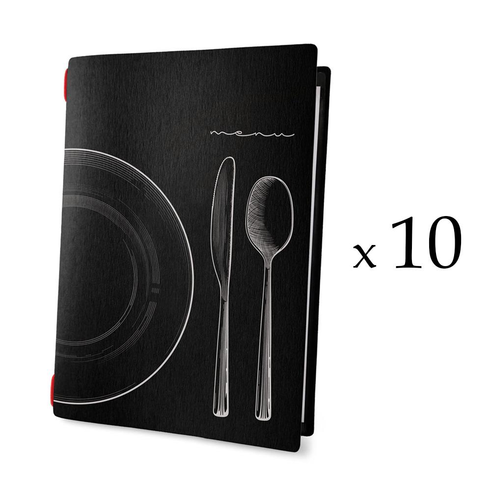 Lot 10 protèges menu noir format A4 design effet craie 1 insert modèle SET - Dag Style