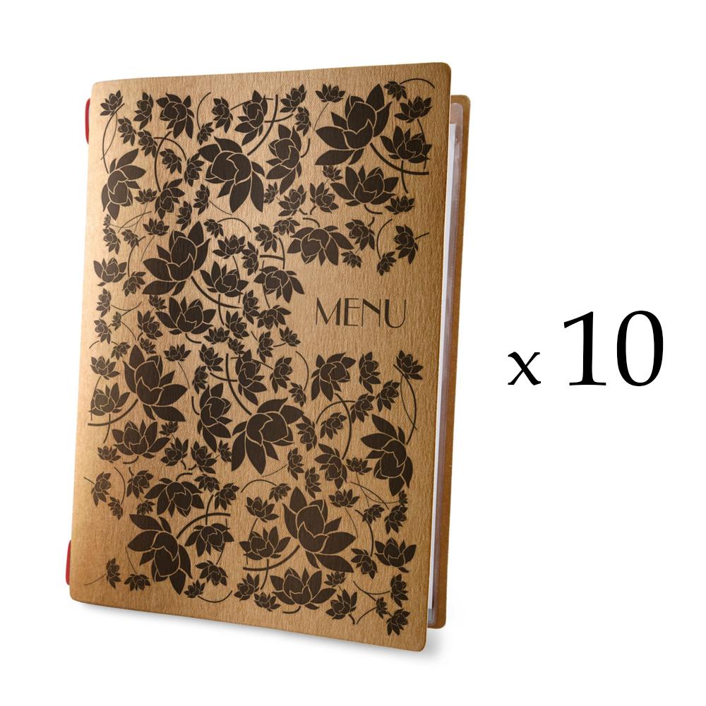 Lot 10 protèges menu format A4 couleur naturel 1 insert modèle PROVENÇAL - Dag Style