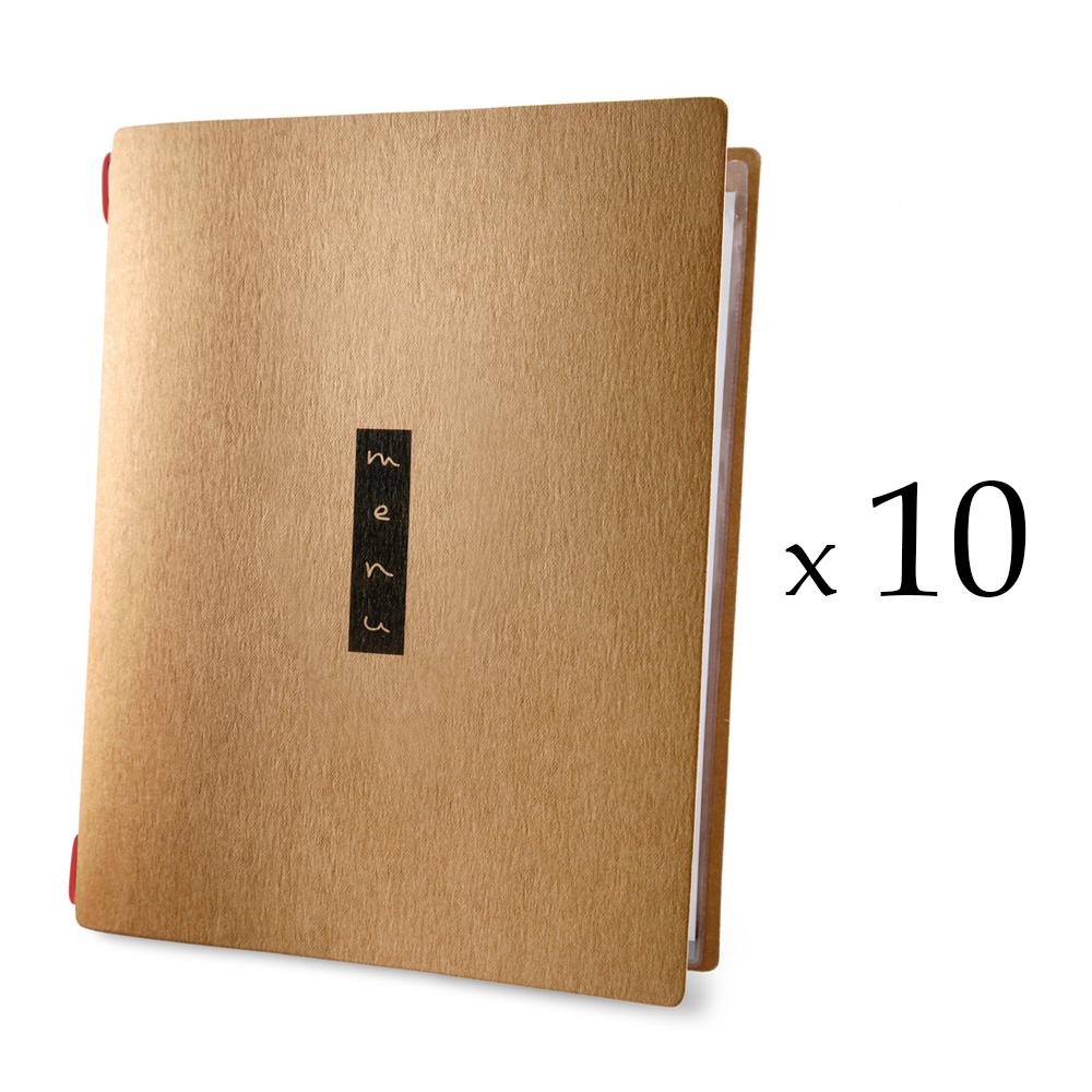 Lot 10 protèges menu format A4 couleur naturel 1 insert modèle ZEN - Dag Style