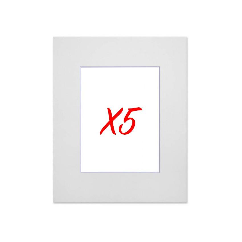 Lot de 5 passe-partouts standard blanc pour cadre et encadrement photo - Nielsen - Cadre 60 x 80 cm - Ouverture 39 x 59 cm