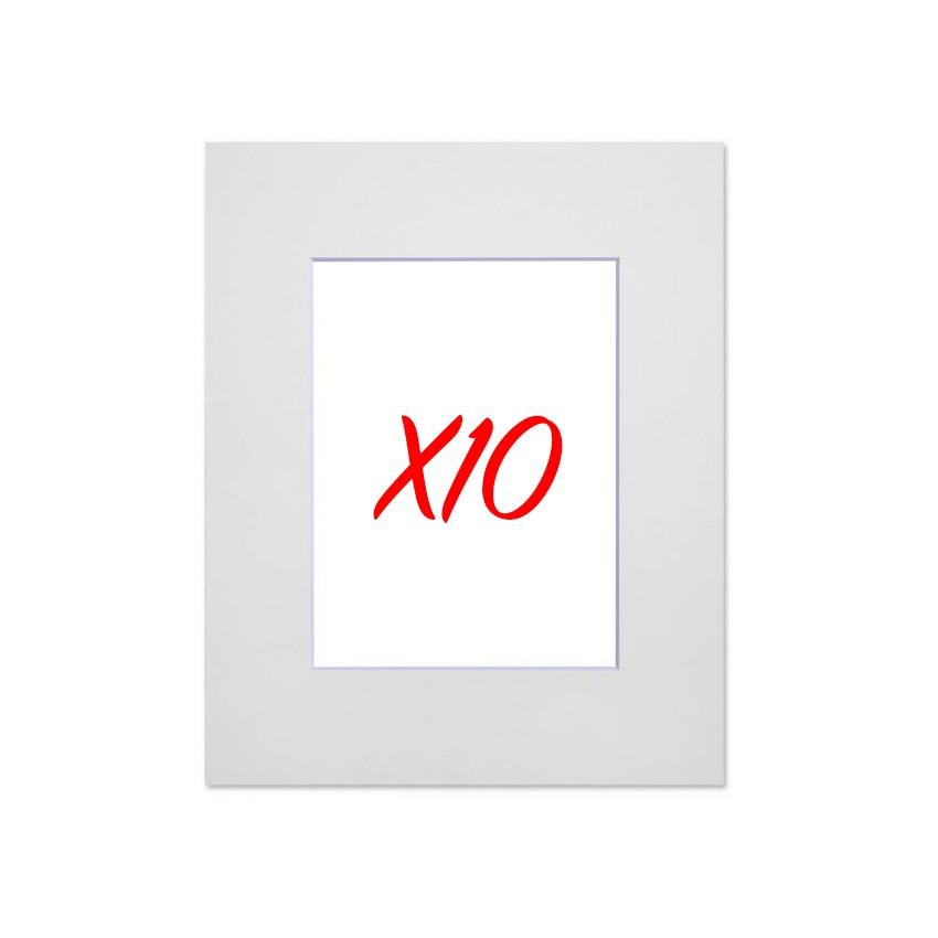 Lot de 10 passe-partouts standard blanc pour cadre et encadrement photo - Nielsen - Cadre 40 x 50 cm - Ouverture 27 x 34 cm