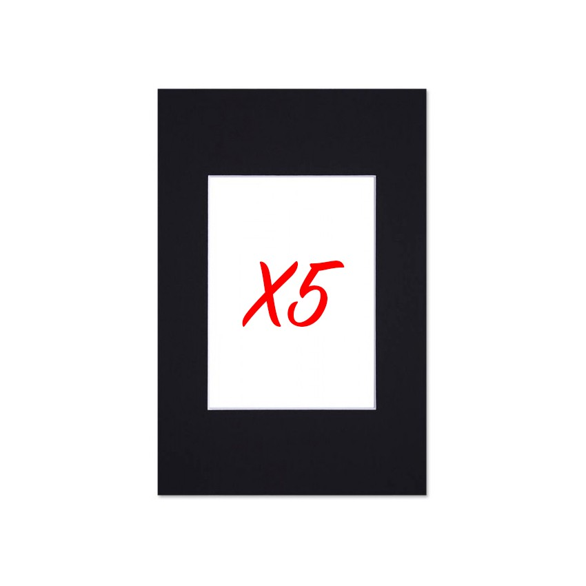 Lot de 5 passe-partouts standard noir pour cadre et encadrement photo - Nielsen - Cadre 20 x 30 cm - Ouverture 12 x 17 cm