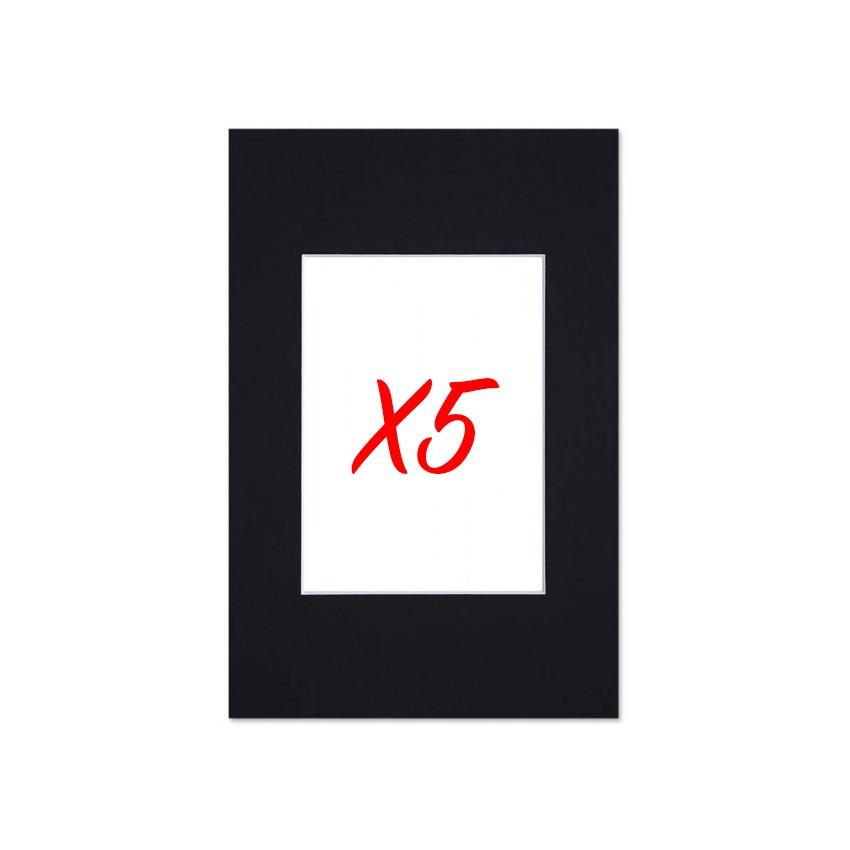 Lot de 5 passe-partouts standard noir pour cadre et encadrement photo - Nielsen - Cadre 30 x 40 cm - Ouverture 19 x 29 cm