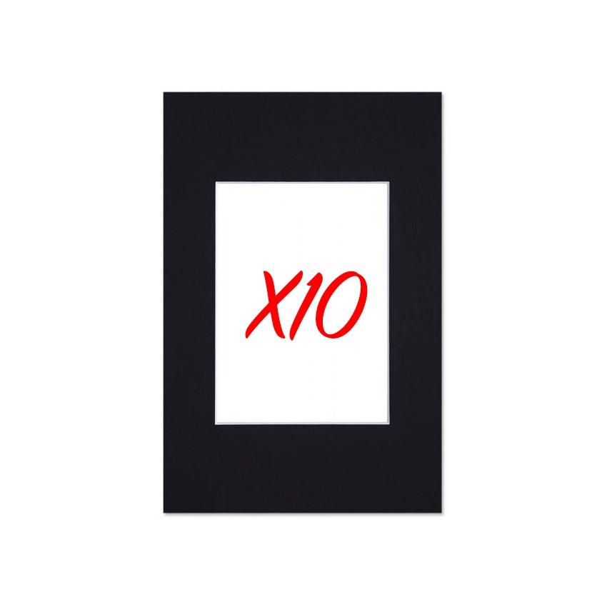 Lot de 10 passe-partouts standard noir pour cadre et encadrement photo - Nielsen - Cadre 20 x 30 cm - Ouverture 12 x 17 cm