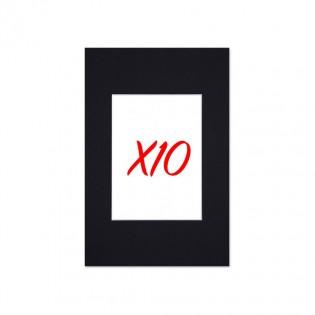 Lot de 10 passe-partouts standard noir pour cadre et encadrement photo - Nielsen - Cadre 40 x 50 cm - Ouverture 27 x 34 cm