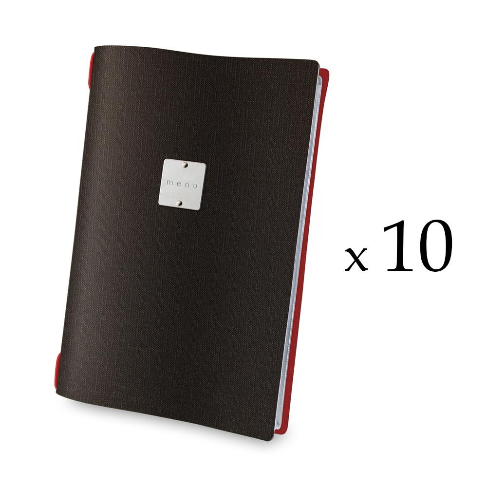 Lot de 10 protège-menus effet jute format A4 noir / rouge pour hôtel restaurant