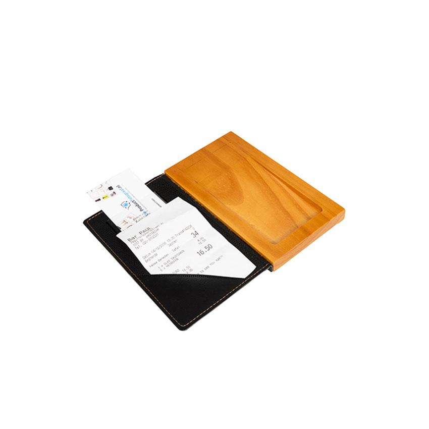 Porte addition bois et cuir noir