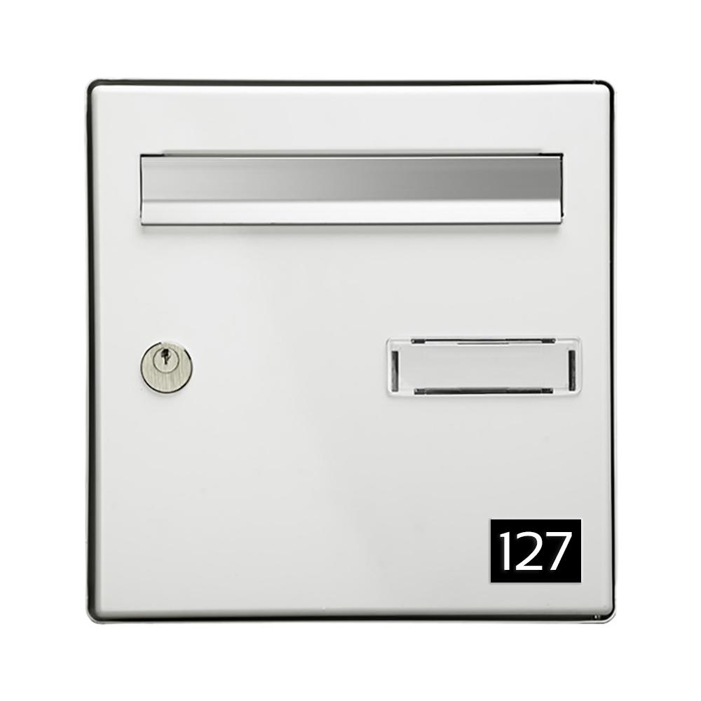 Numéro pour boite aux lettres personnalisable rectangle petit format (50x35mm) noir chiffres blancs