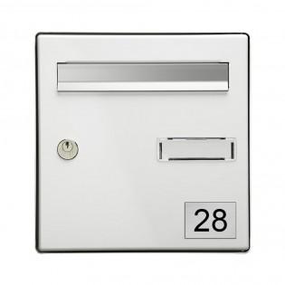 Numéro pour boite aux lettres personnalisable rectangle format médium (70x50mm) gris argent chiffres noirs