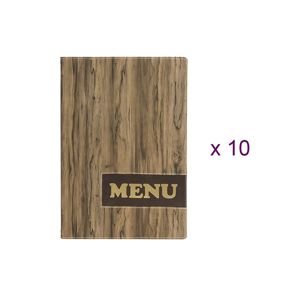 Lot de 10 protège-menus design format A4 effet bois Wood - Hôtel - Restaurant