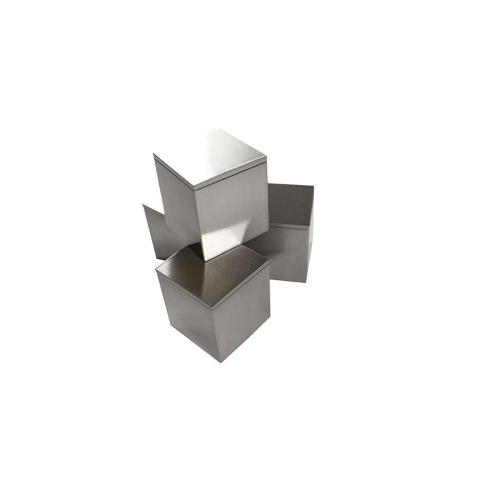 Lot de 4 fixations murales entretoises aspect INOX modèle carré 20x20mm pour fixation signalétique - Fisso Cubix