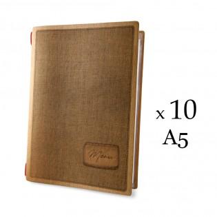 Lot 10 protèges menu format A5 couleur naturel 1 insert modèle COUNTRY - Dag Style