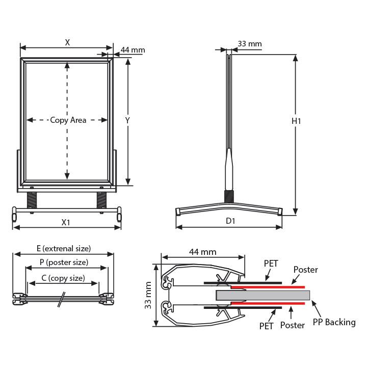 Stop Trottoir ECO Swing Master pour affiche 50 x 70 cm.