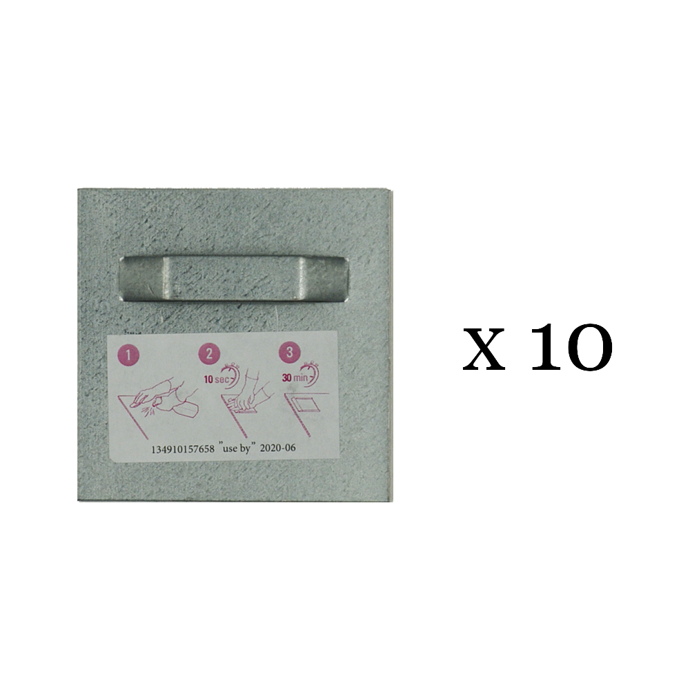 Lot de 10 attaches adhésives 70x70 mm max 3 kg pour intérieur / extérieur - Fixation Dibond et miroir