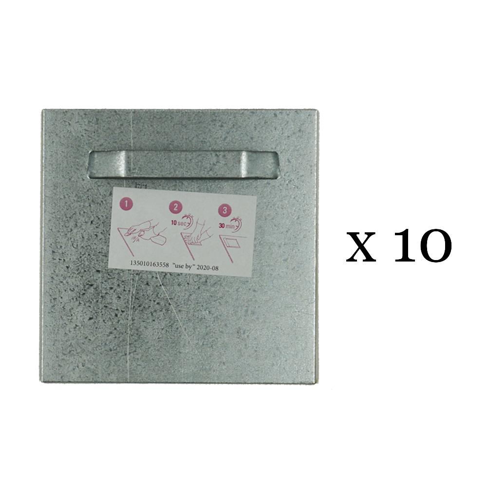 Lot de 10 attaches adhésives 70x70 mm intérieur et extérieur - Fixation accrochage Dibond et miroir 70x70 mm -