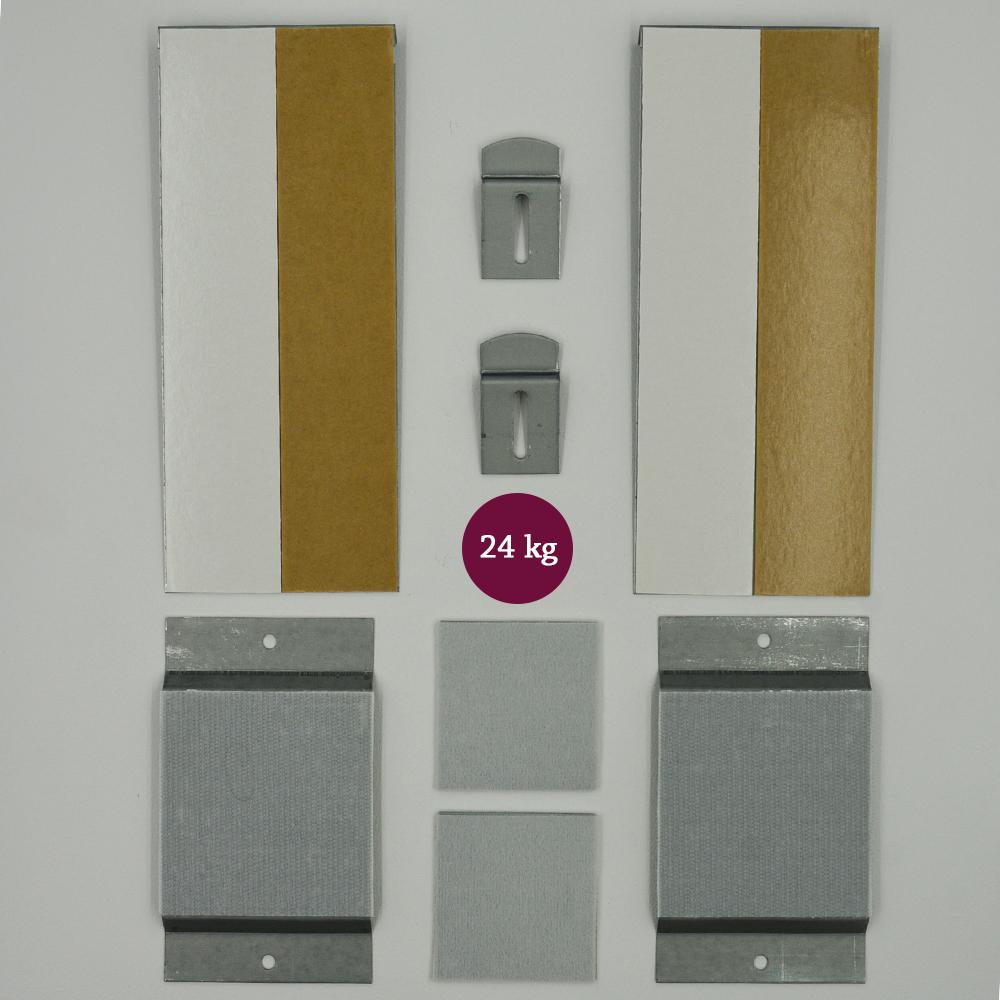 Kit de fixation murale invisible sécurisée pour miroir, enseigne, Dibond - Charge maxi 24 kg