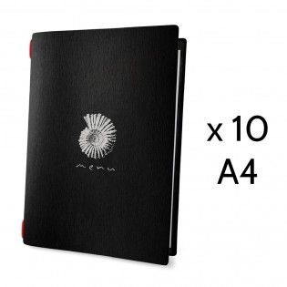 """Lot 10 protège-menus noir format A4 """"Menu"""" orné d'une coquille 1 insert - Dag Style"""
